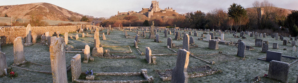 Corfe Castle beyond the Cemetery.