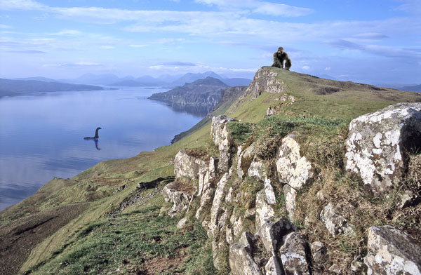 A composite photo showing King Kong and the Loch Ness Monster in Scotland.